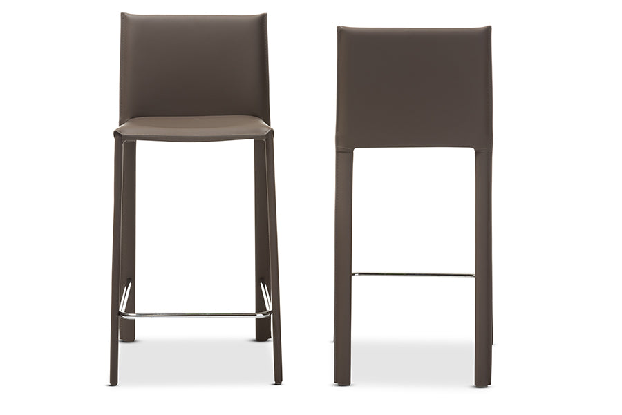 Crawford Modern and Contemporary Taupe Leather Upholstered Stool (Set of 2)