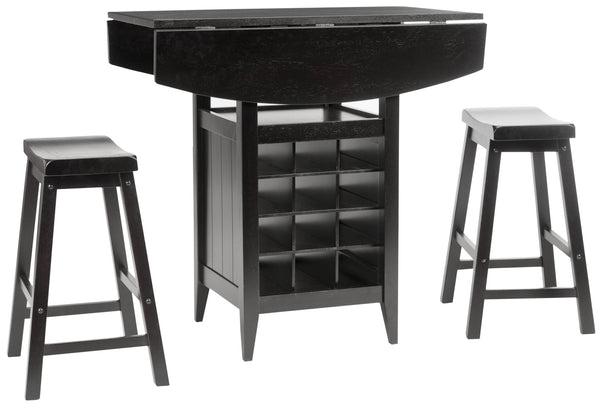 Safavieh Contemporary Emeric 3 Pc Set Drop Leaf Pub Table - Perfect Home Bars