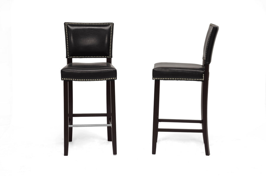 Aries Modern Bar Stool with Nail Head Trim in Dark Brown