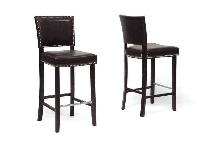 Aries Modern Bar Stool with Nail Head Trim in Black