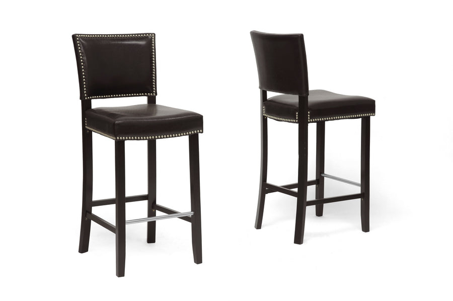 Aries Modern Bar Stool with Nail Head Trim Side View