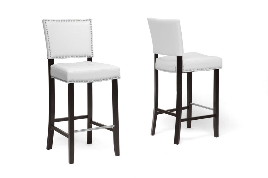 Aries Modern Bar Stool with Nail Head Trim in White
