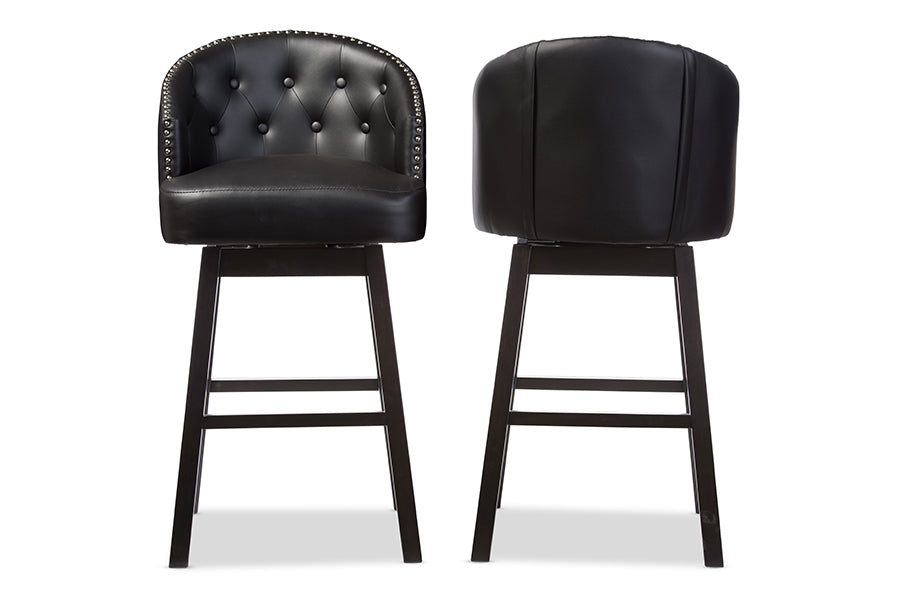 Avril Modern and Contemporary Swivel Bar Stool Black Front View