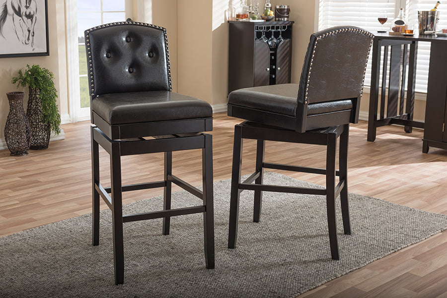 Ginaro Modern and Contemporary Swivel Bar Stool (Set of 2)