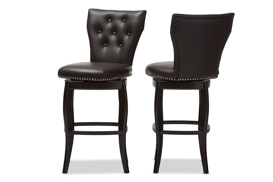 Baxton Studio Leonice Modern and Contemporary Dark Brown Faux Leather Upholstered Button-tufted 29-Inch Swivel Bar Stool (Set of 2) -  Available in Dark Brown. Gray or White