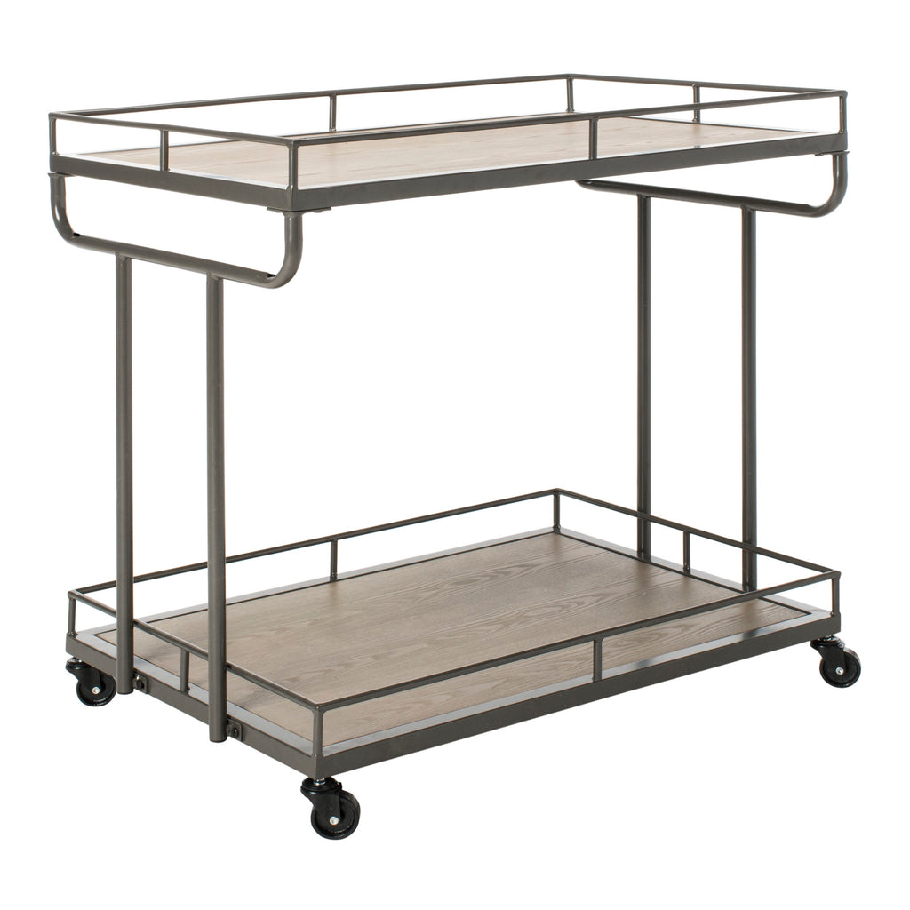 Dawson 2 Tier Rectangle Bar Cart Front Corner View