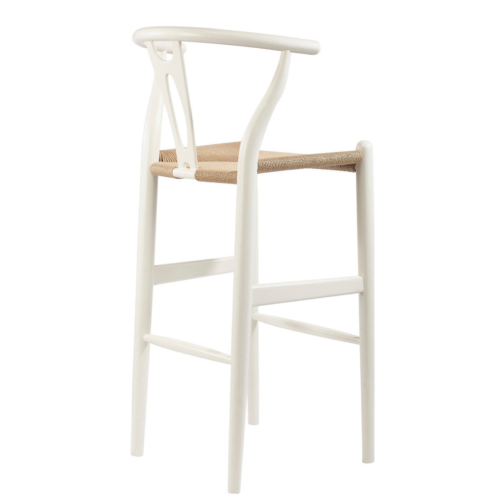 Mid-Century Modern Wishbone Stool - White Wood Y Stool