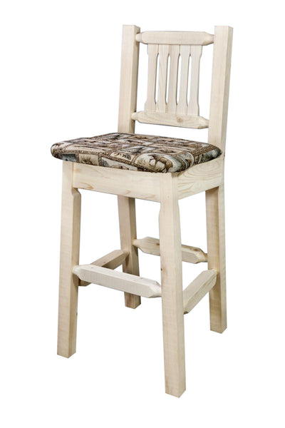 Montana Woodworks Glacier Country Collection Wood Barstool w/ Back, Upholstered Seat - Perfect Home Bars