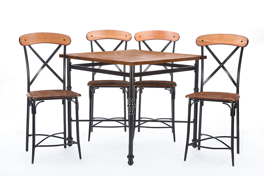 Broxburn Light Brown Wood & Metal 5-Piece Pub Set