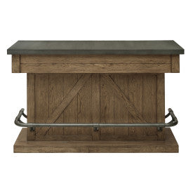 Pulaski Furniture Lt Oak Metal Top Home Bar Front View
