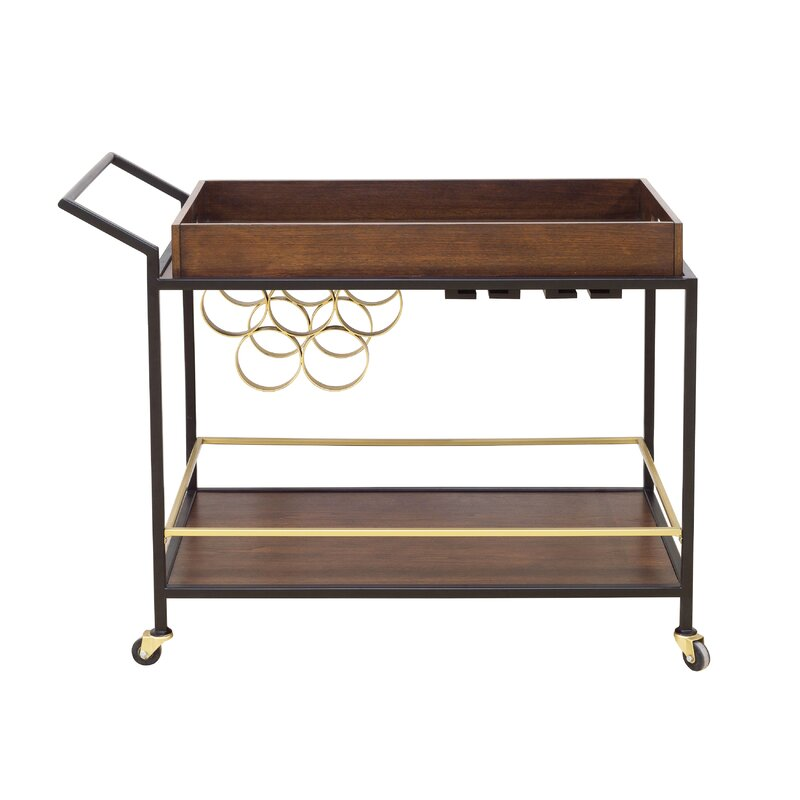 Mid Century Bar Cart Side View