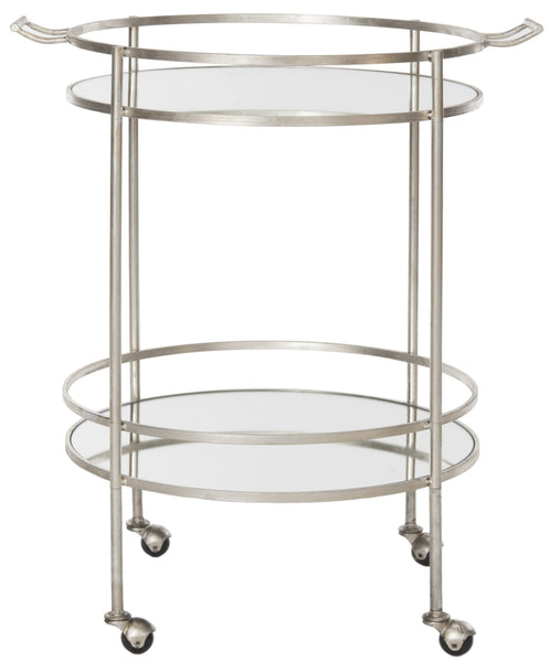 Lavinia Table Side Mirrored Glass Bar Cart Silver Side View