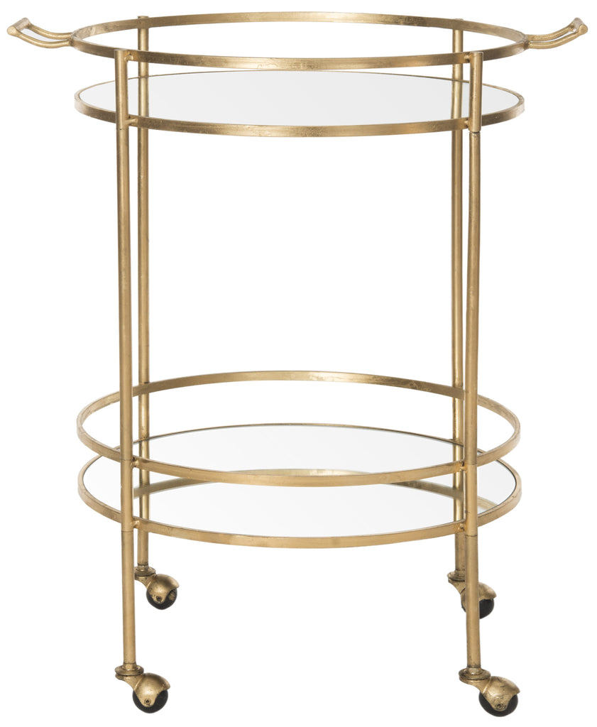 Lavinia Table Side Mirrored Glass Bar Cart Gold Front View