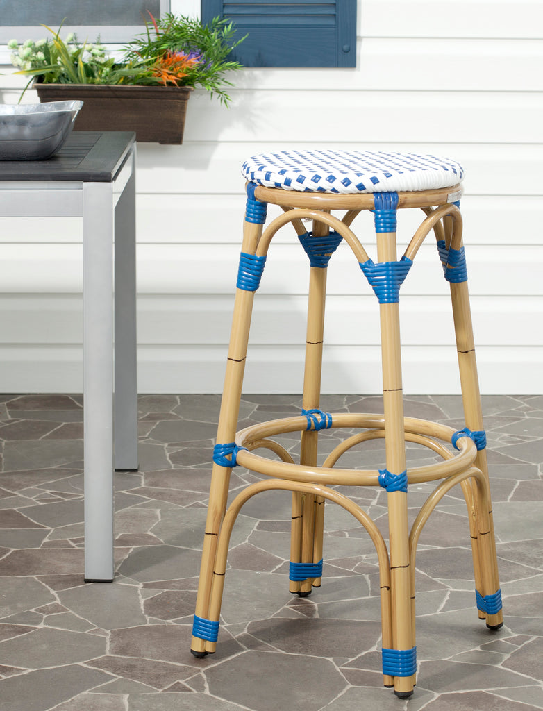 Safavieh Kipnuk Indoor-Outdoor Stacking Bar Stool - Available in Blue, Gray, or Red