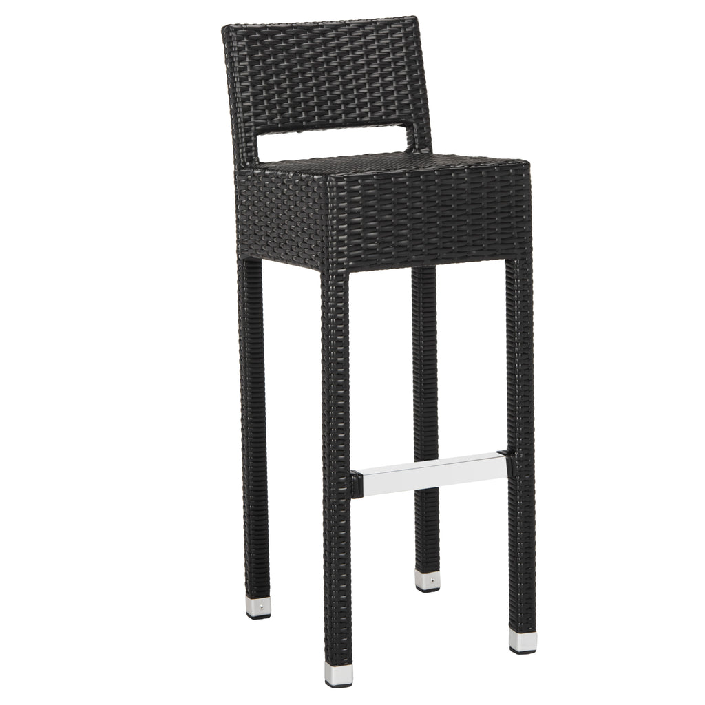 Safavieh Landry Indoor-Outdoor Stacking Bar Stool - Available in Black, Brown, White or Gray