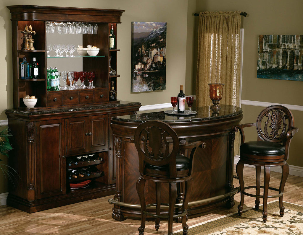 Howard Miller Niagara Back Bar Hutch in Rustic Cherry 693-007