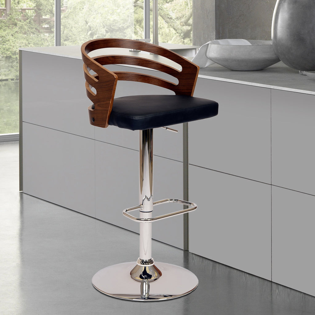 Adele Swivel Bar Stool - Live Side View Black