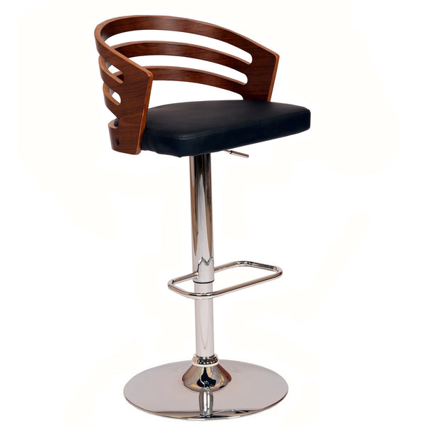 Armen Living Adele Swivel Barstool In PU/ Walnut Veneer and Chrome Base Available in Black or Cream - Perfect Home Bars