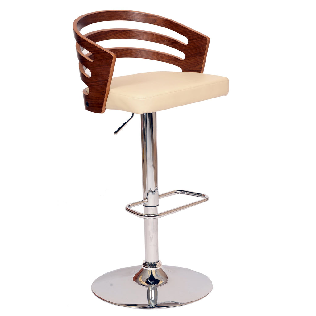 Adele Swivel Bar Stool - Side View Cream
