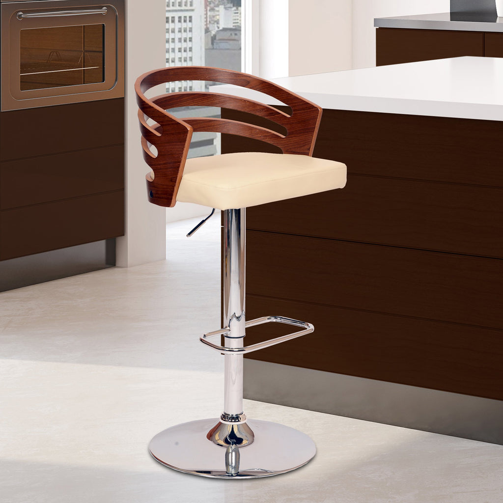 Adele Swivel Bar Stool - Live Side View Cream