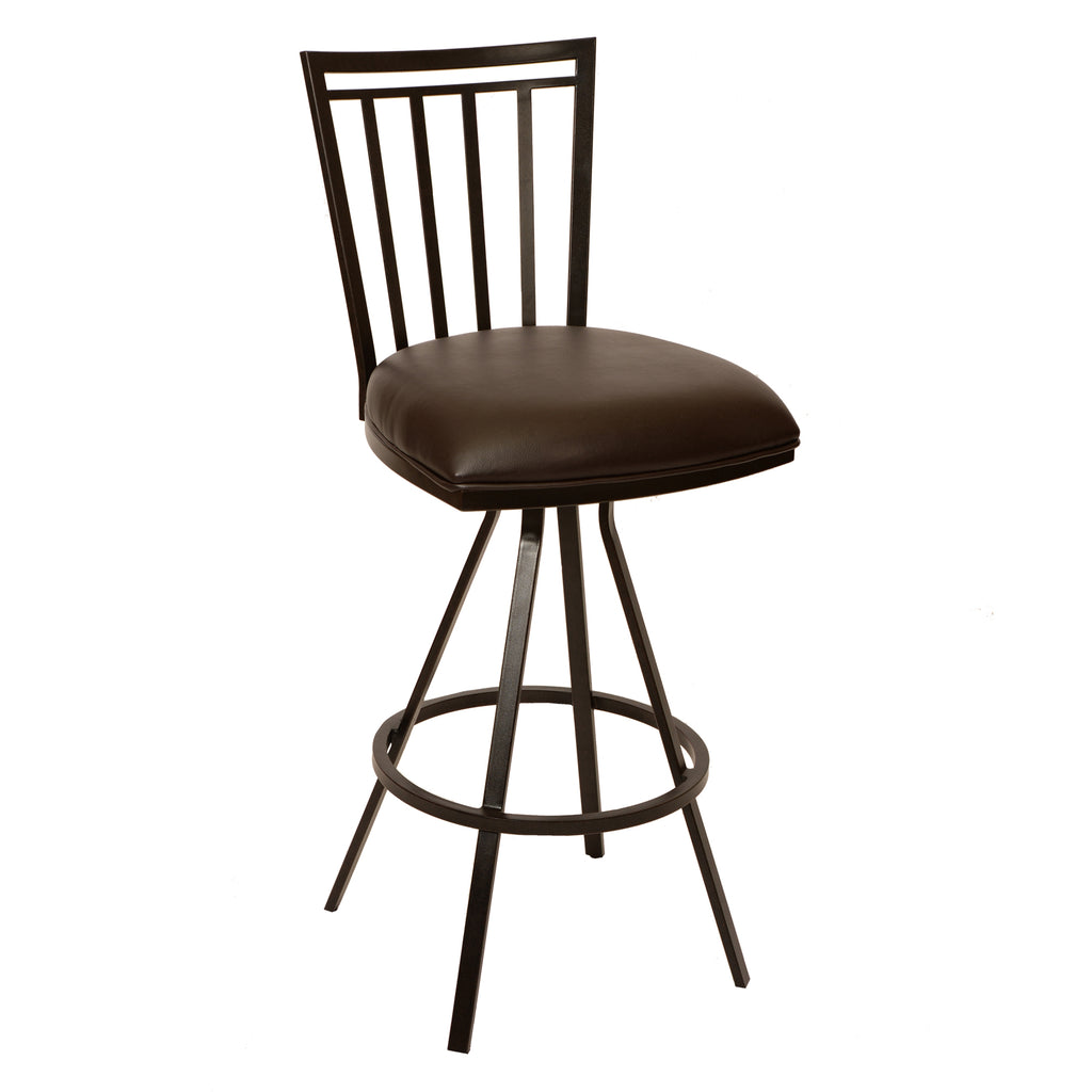 "Armen Living Aidan 30"" Transitional Barstool Available in Coffee and Auburn Bay Metal or Gray  and Gray Metal - Perfect Home Bars"
