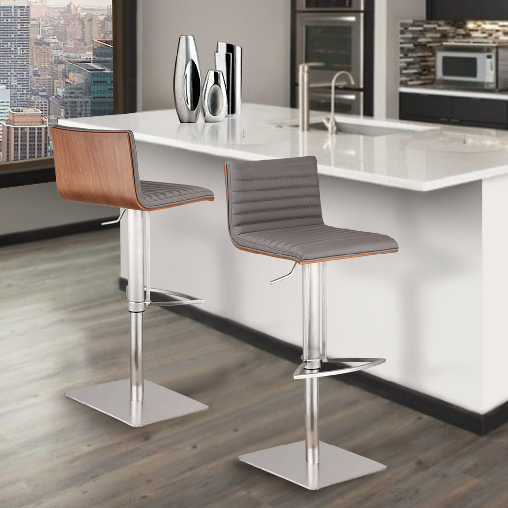 Armen Living Café Adjustable Brushed Stainless Steel Barstool with Walnut Back Available in Gray or White Pu