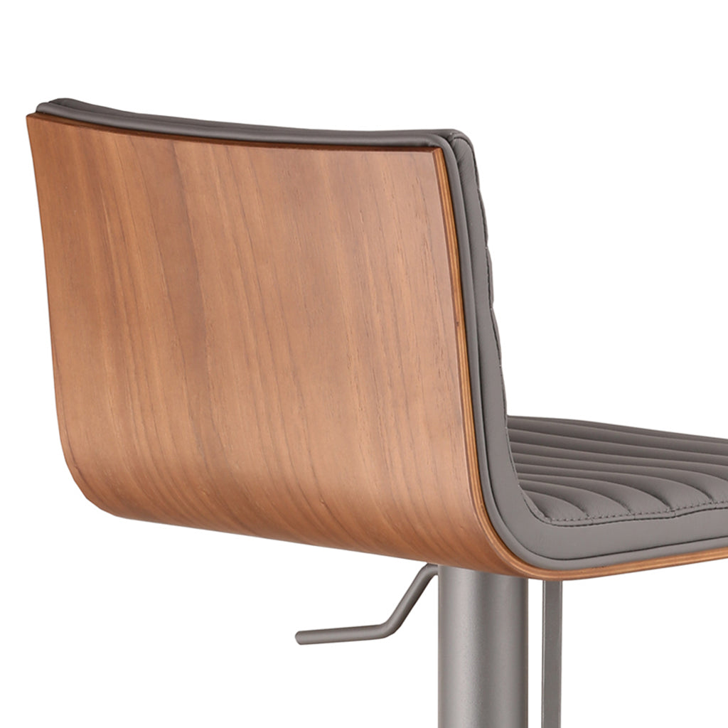 Armen Living Café Adjustable Gray Metal Barstool with Walnut Back Available in Gray or White Pu