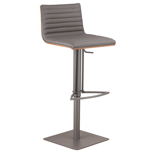 Adjustable Metal Bar Stool In Gray Side View