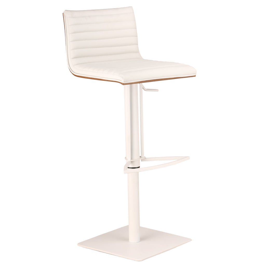 Adjustable Metal Bar Stool Side View White