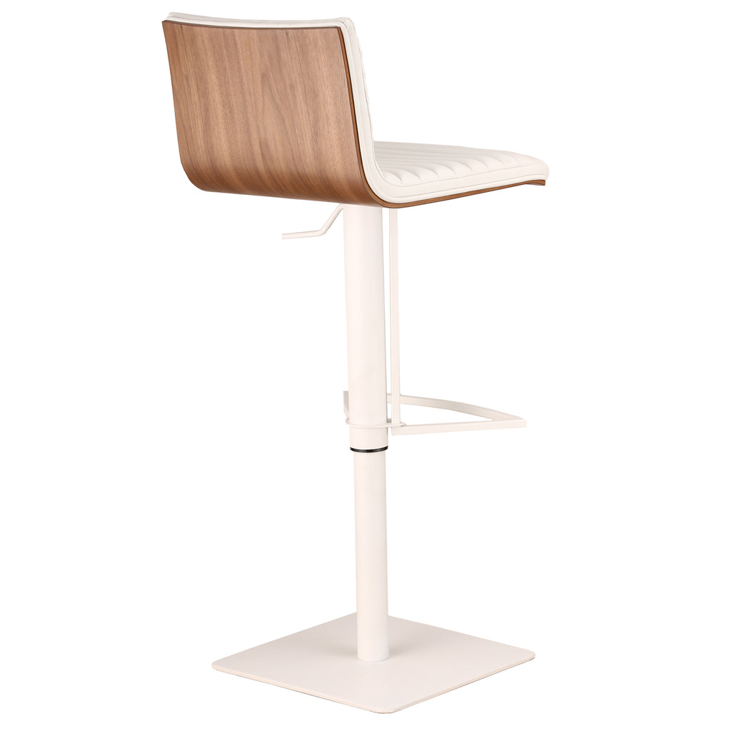 Adjustable Metal Bar Stool Back View White