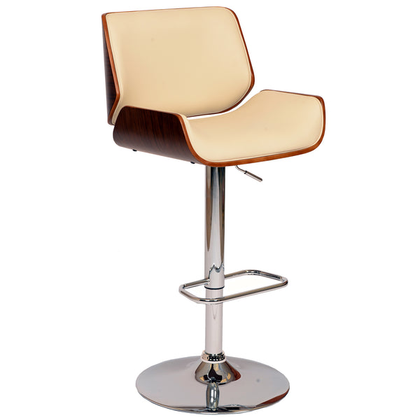 Armen Living London Swivel Barstool In PU/ Walnut Veneer and Chrome Base Available in Black or Cream - Perfect Home Bars