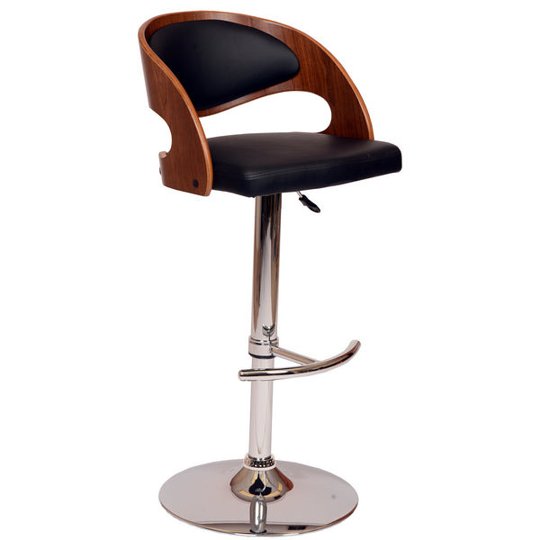 Armen Living Malibu Swivel Barstool In PU/ Walnut Veneer and Chrome Base Available in Black or Cream - Perfect Home Bars