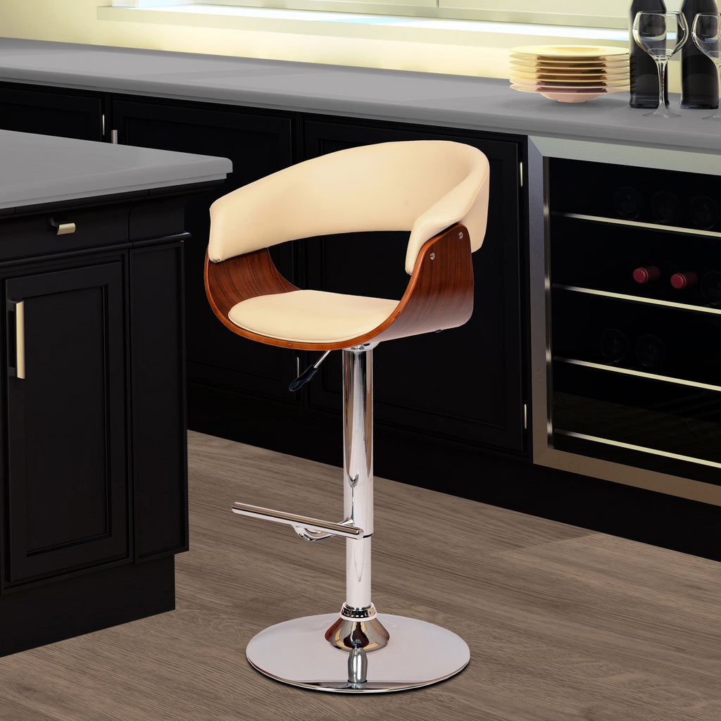 Armen Living Paris Swivel Barstool In PU/ Walnut Veneer and Chrome Base Available in Black or Cream - Perfect Home Bars