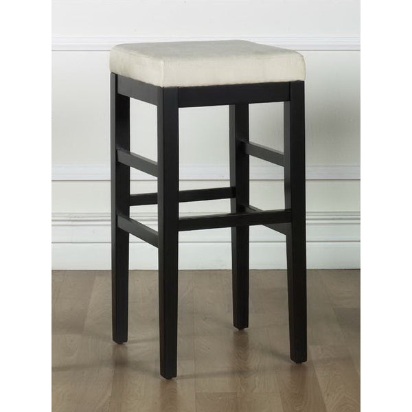"Armen Living Sonata 30"" Stationary Barstool in Microfiber with Black Legs Available in Beige, Black, Brown, Eggplant, Red, Yellow, or Green"