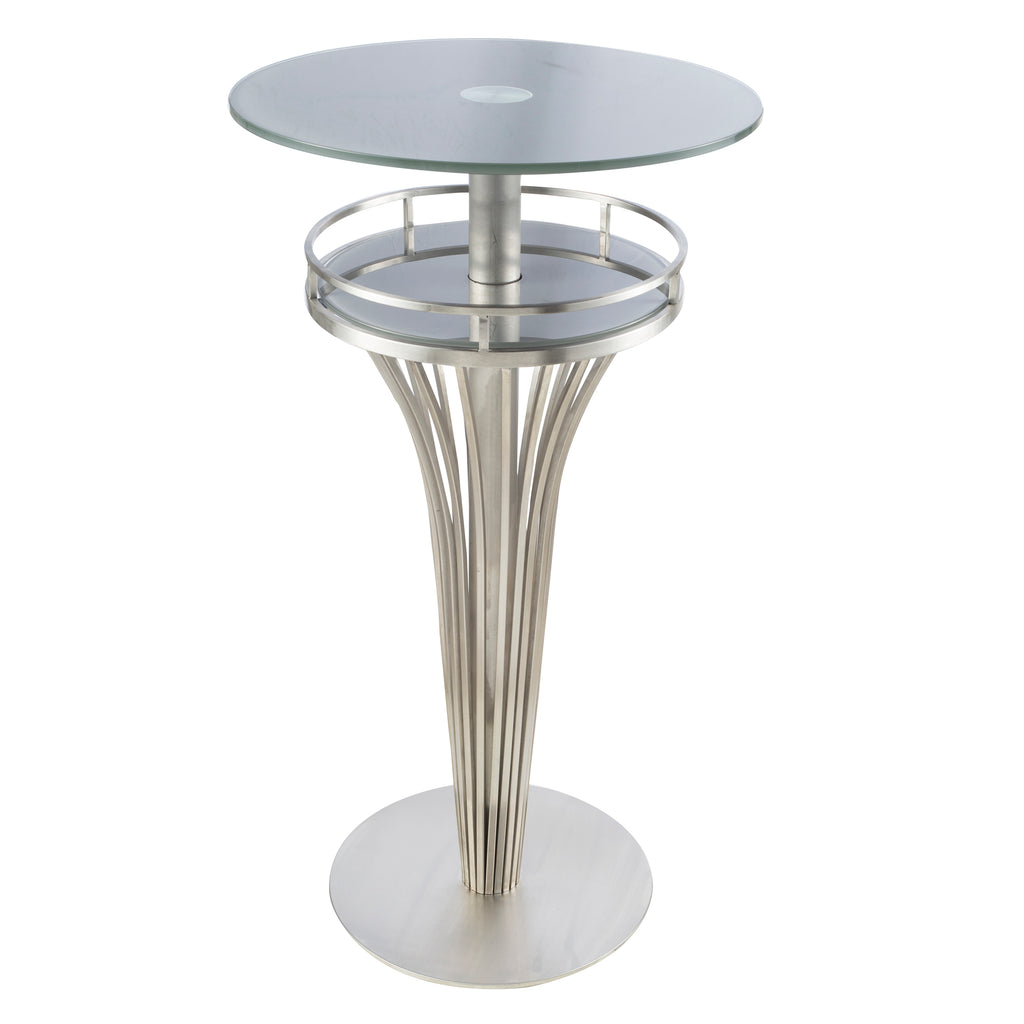 Armen Living Yukon Contemporary Bar Table In Stainless Steel and Gray Frosted Glass