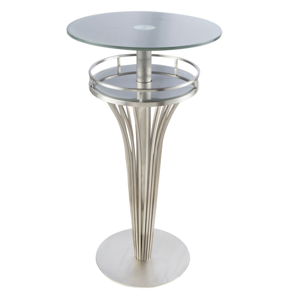 Armen Living Yukon Contemporary Bar Table In Stainless Steel and Gray Frosted Glass - Perfect Home Bars