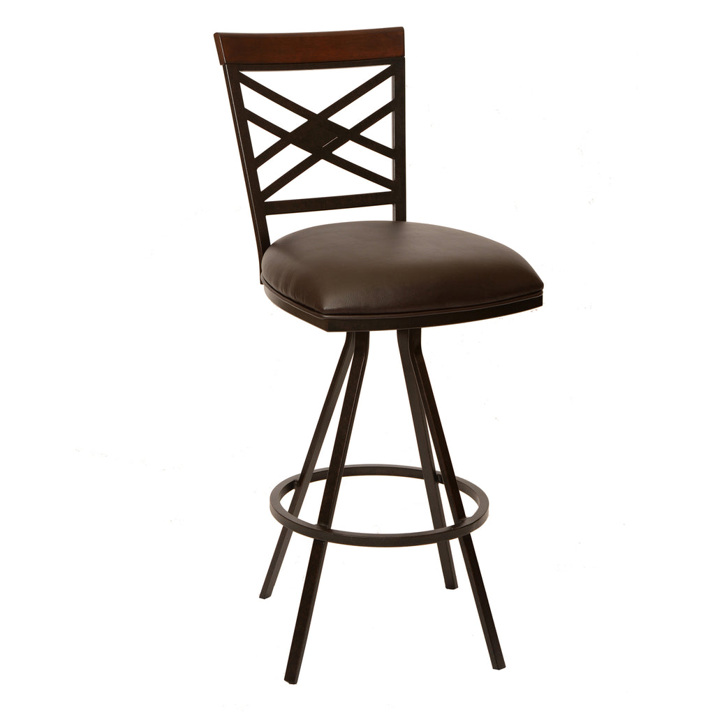 "Armen Living Zoe 26"" Transitional Barstool In Coffee  and Auburn Bay Metal Available in Armed or Armless - Perfect Home Bars"