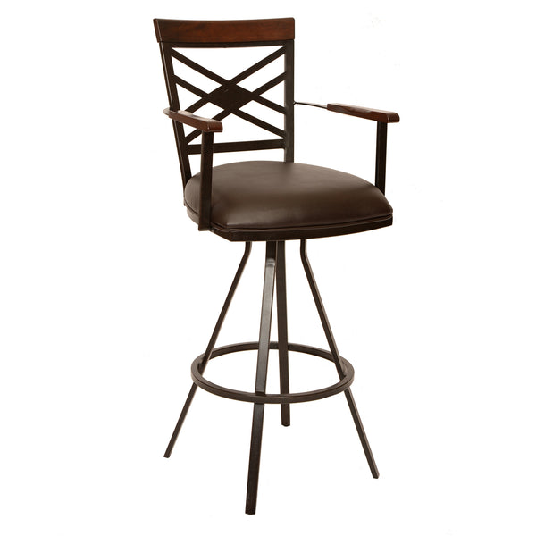 "Armen Living Zoe 30"" Transitional Barstool In Coffee  and Auburn Bay Metal Available in Armed or Armless - Perfect Home Bars"