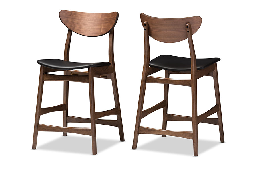 Baxton Studio Latina Mid-century Retro Modern Scandinavian Style Faux Leather Upholstered Walnut Wood Finishing 24-Inches Counter Stool (Set of 2) - Available in Black or Light Gray