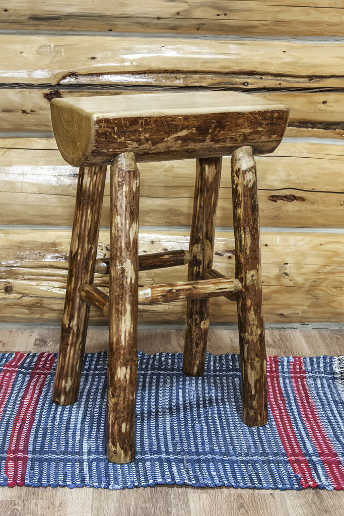 Montana Woodworks Glacier Country Collection Half Log Wood Barstool - Perfect Home Bars