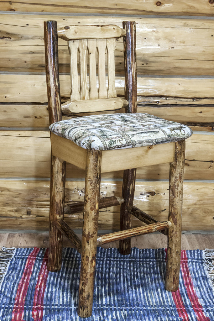 Montana Woodworks Glacier Country Collection Barstool w/ Back, Ergonomic Wooden Seat