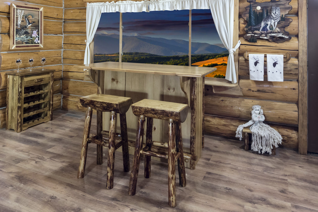 Montana Woodworks Glacier Country Collection Deluxe Wood Bar with Foot Rail Sample View