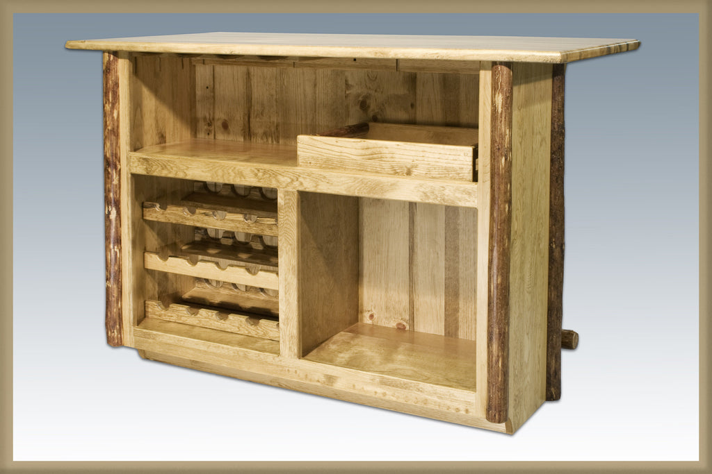 Montana Woodworks Glacier Country Collection Deluxe Wood Bar with Foot Rail Side View