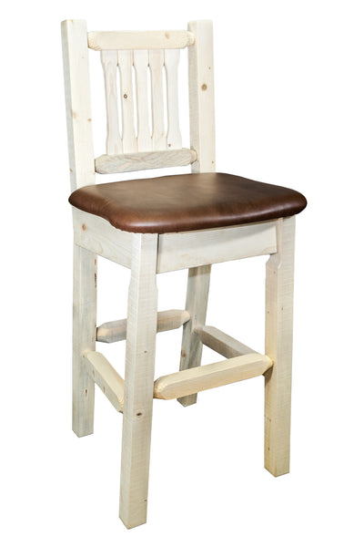Montana Woodworks Homestead Collection Wood Barstool w/ Back w/ Upholstered Seat, Saddle Pattern - Perfect Home Bars