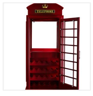 RAM Game Room Old English Telephone Booth Bar Cabinet