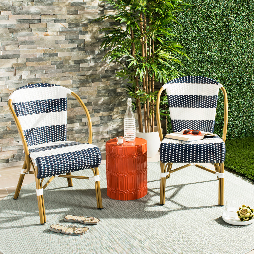 Sarita Striped French Bistro Stacking Side Chairs Live View