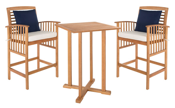 Safavieh Pate 3 pc Bar 39.8-Inch H Table Bistro Set - Available in Teak or Gray