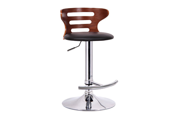 Buell Walnut and Black Modern Bar Stool