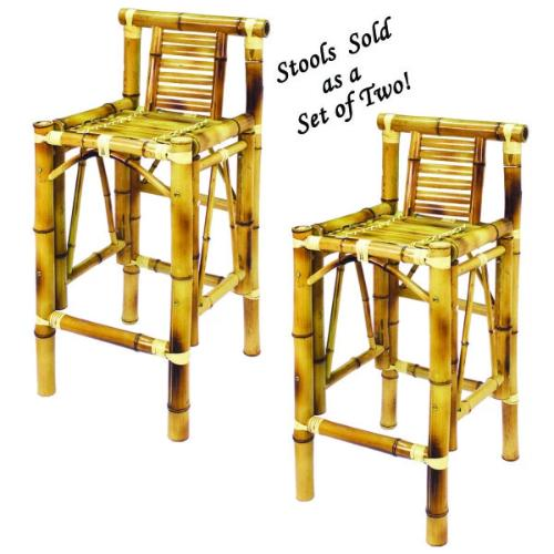 Set of Two Bamboo Tiki Bar Stools - Perfect Home Bars