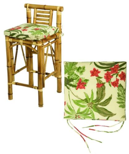 Tiki Bar Stool with Beige Cushions Front View